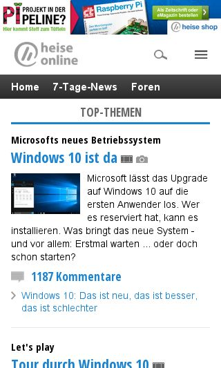 Mobile preview of heise.de