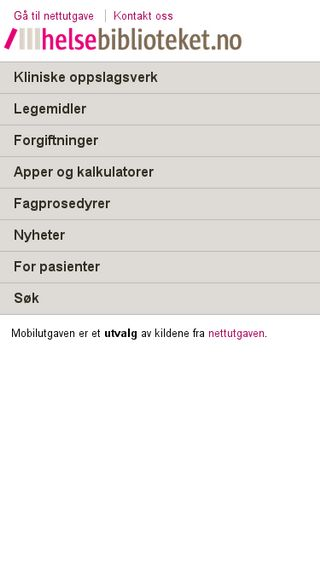 Mobile preview of helsebiblioteket.no