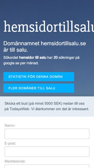 Mobile preview of hemsidortillsalu.se