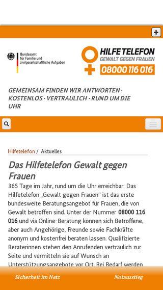 Mobile preview of hilfetelefon.de