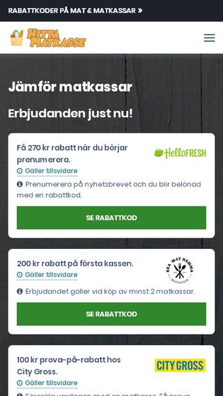 Mobile preview of hittamatkasse.nu
