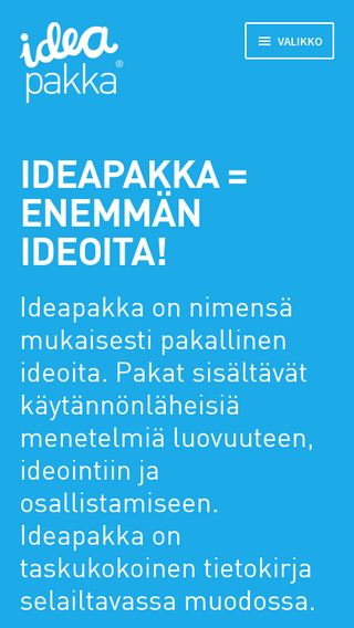 Mobile preview of ideapakka.fi