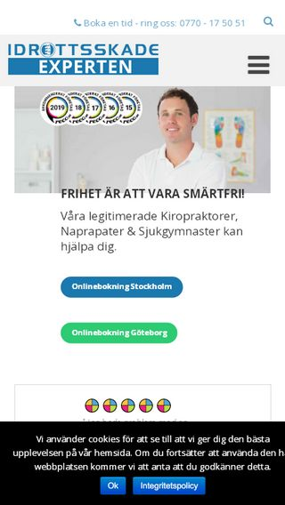 Mobile preview of idrottsskadeexperten.se