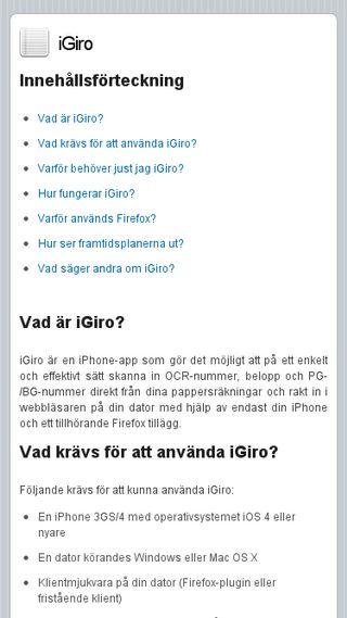 Mobile preview of igiroapp.se