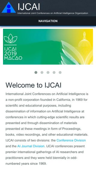 Mobile preview of ijcai.org