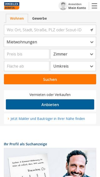 Mobile preview of immobilienscout24.de