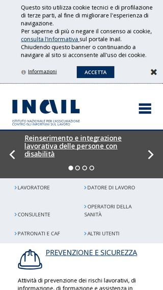 Mobile preview of inail.it