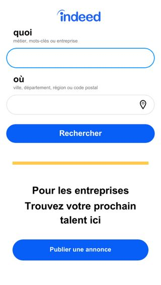 Mobile preview of indeed.fr