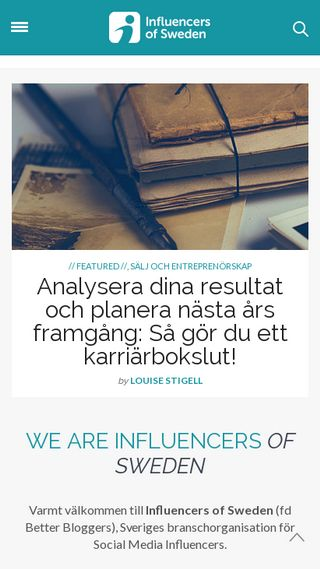 Mobile preview of influencersofsweden.se