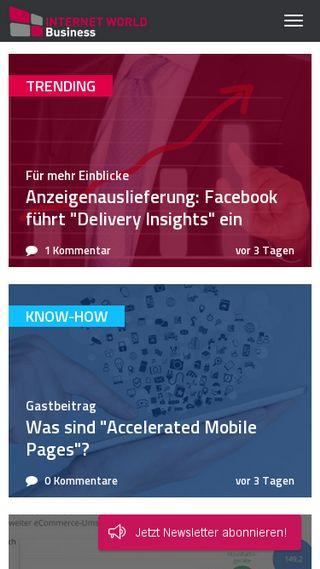 Mobile preview of internetworld.de