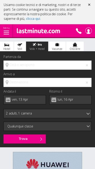 Mobile preview of it.lastminute.com