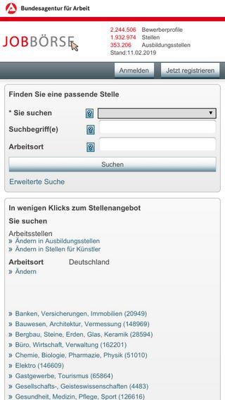 Mobile preview of jobboerse.arbeitsagentur.de