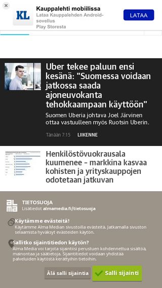 Mobile preview of kauppalehti.fi