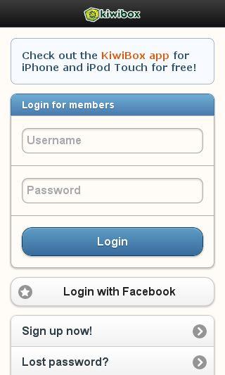 Mobile preview of kiwibox.com