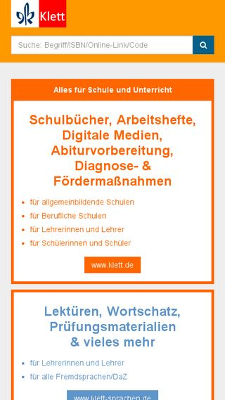 Mobile preview of klett.de