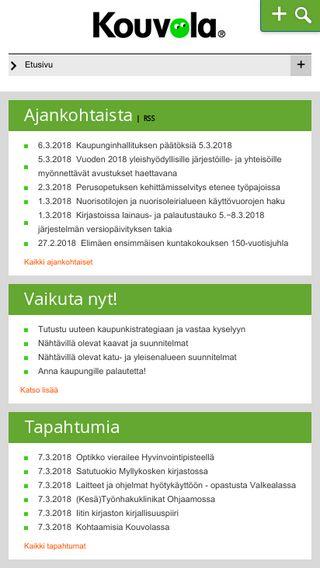 Mobile preview of kouvola.fi