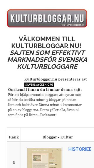 Mobile preview of kulturbloggar.nu