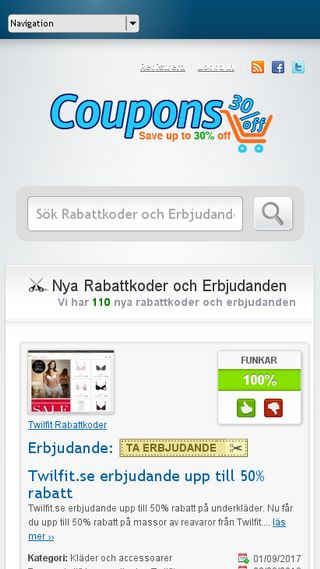 Mobile preview of kupongnytt.se
