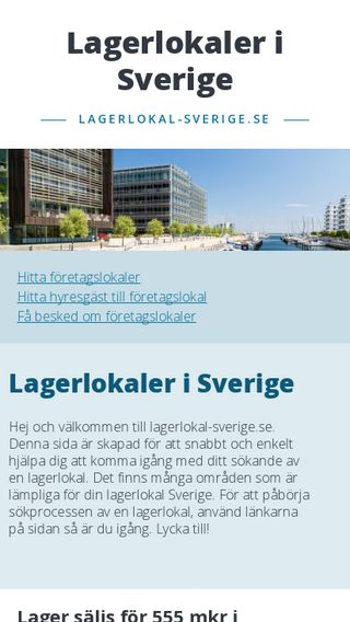 Mobile preview of lagerlokal-sverige.se