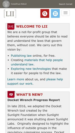 Mobile preview of law.cornell.edu