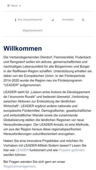 Mobile preview of leader-raiffeisen-region.de