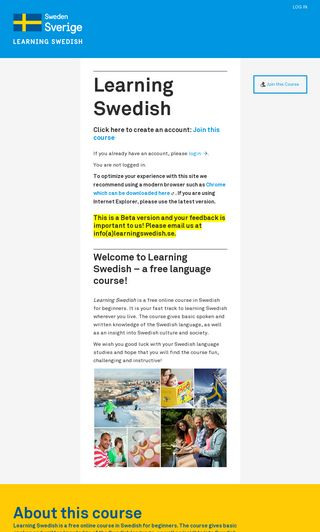 Mobile preview of learningswedish.se