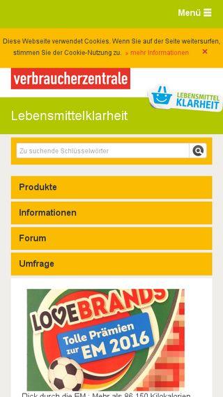 Mobile preview of lebensmittelklarheit.de