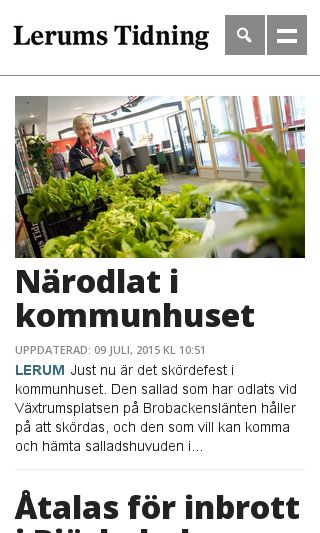 Mobile preview of lerumstidning.se