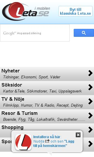 Mobile preview of leta.se