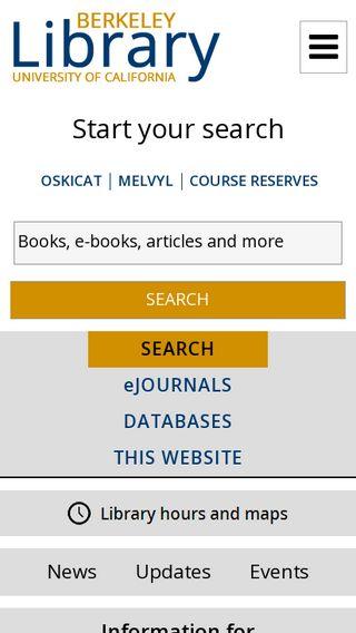 Mobile preview of lib.berkeley.edu