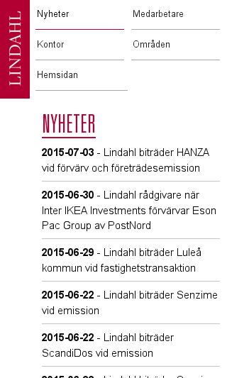 Mobile preview of lindahl.se