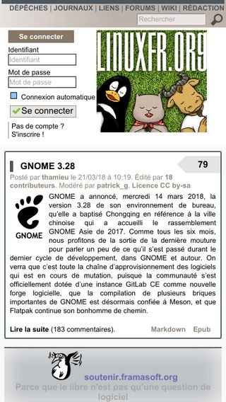Mobile preview of linuxfr.org