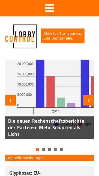 Mobile preview of lobbycontrol.de
