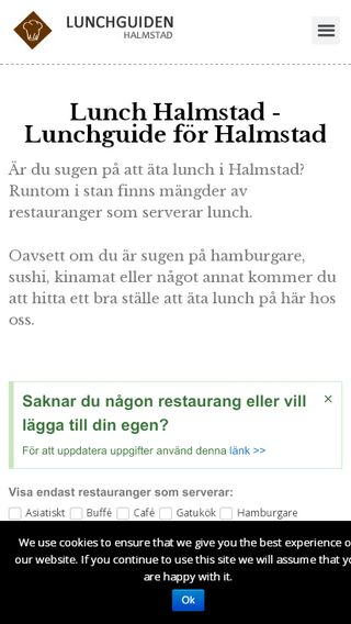 Mobile preview of lunchguidenhalmstad.se