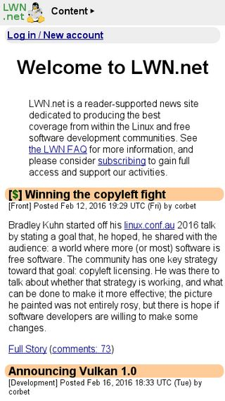 Mobile preview of lwn.net