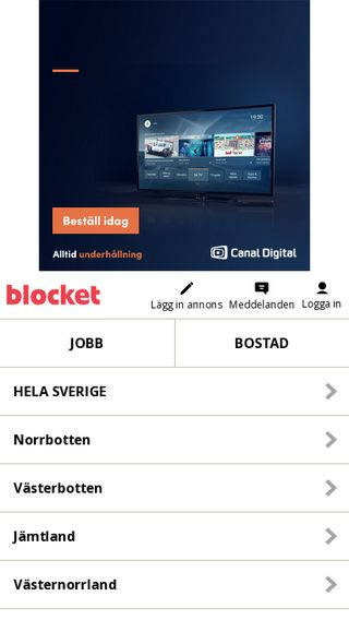 Mobile preview of m.blocket.se