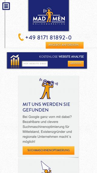 Mobile preview of madmen-onlinemarketing.de