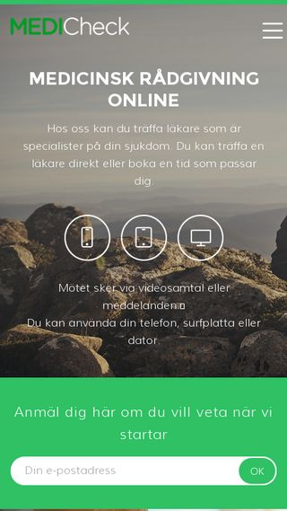 Mobile preview of medicheck.se