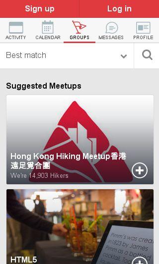 Mobile preview of meetup.com