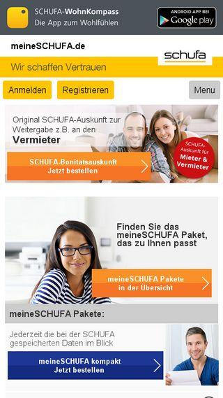 Mobile preview of meineschufa.de