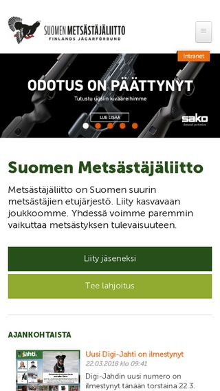Mobile preview of metsastajaliitto.fi