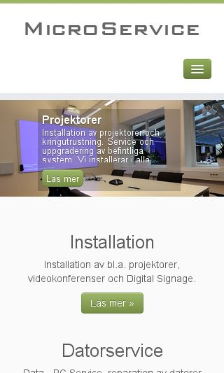 Mobile preview of microservice.se