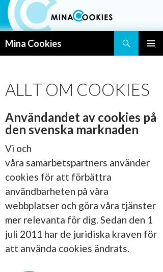 Mobile preview of minacookies.se