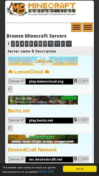 minecraft-server-list com | Domainstats com