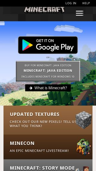 Mobile preview of minecraft.net