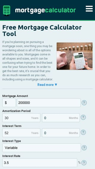 Mobile preview of mortgagecalculator.net