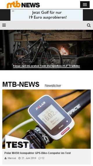 Mobile preview of mtb-news.de