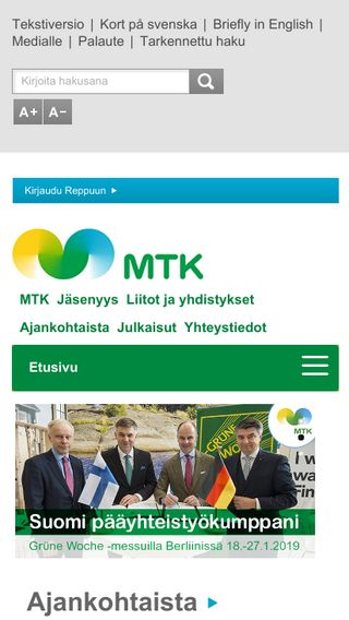 Mobile preview of mtk.fi