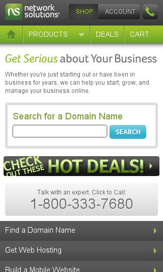 Mobile preview of networksolutions.com