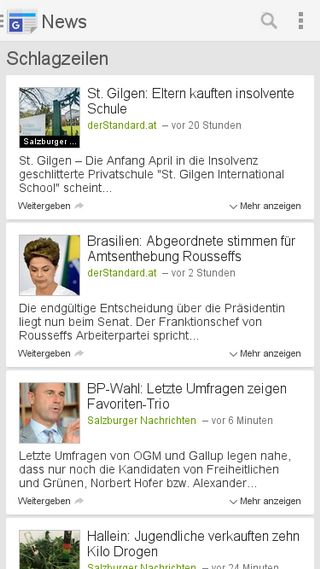 Mobile preview of news.google.at
